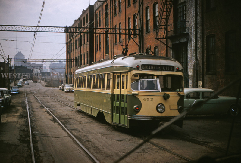 ITS 115 - Feb 22 1956 - Car 453 on 11th st headed for terminal St Louis MO