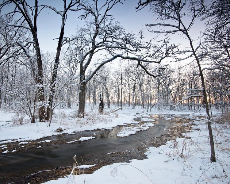 ARB136H                      Winter twilight on Willoway Brook at The Morton Arboretum in Lisle, Illinois.