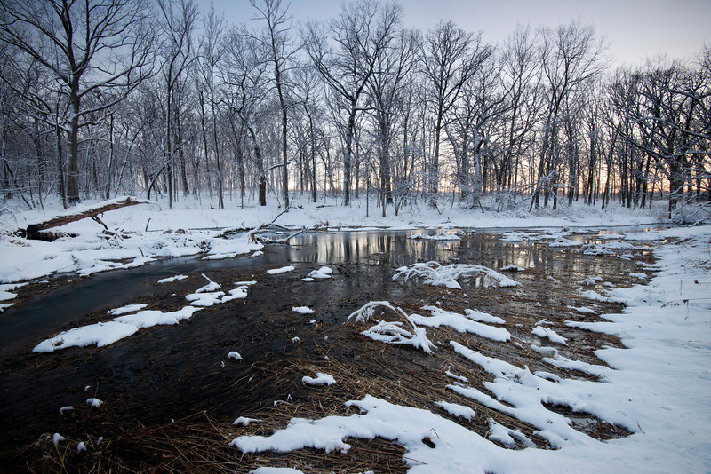 ARB138H                    Winter twilight on Willoway Brook at The Morton Arboretum in Lisle, Illinois.