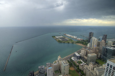 View of Lake Michigan and the Navy Pier from 360 Chicago on the top floor of the John Hancock building in downtown Chicago, IL on Monday, August 10, 2015. Copyright 2015 Jason Barnette