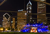 The Pritzker Pavilion lawn is an inviting place to enjoy a warm summer night watching a performance, admiring the city skyline or just relaxing with friends. Chicago, IL<br /> <br /> IL-080601-0405