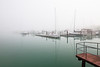 In the blink of an eye, fog covers Burnham Park Harbor. Chicago, IL<br /> <br /> IL-110519-0002