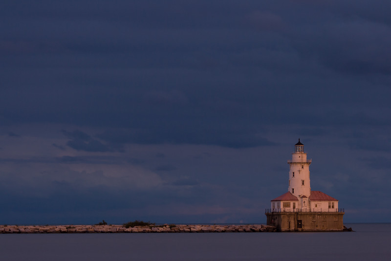 Chicago Harbor Light at Dusk