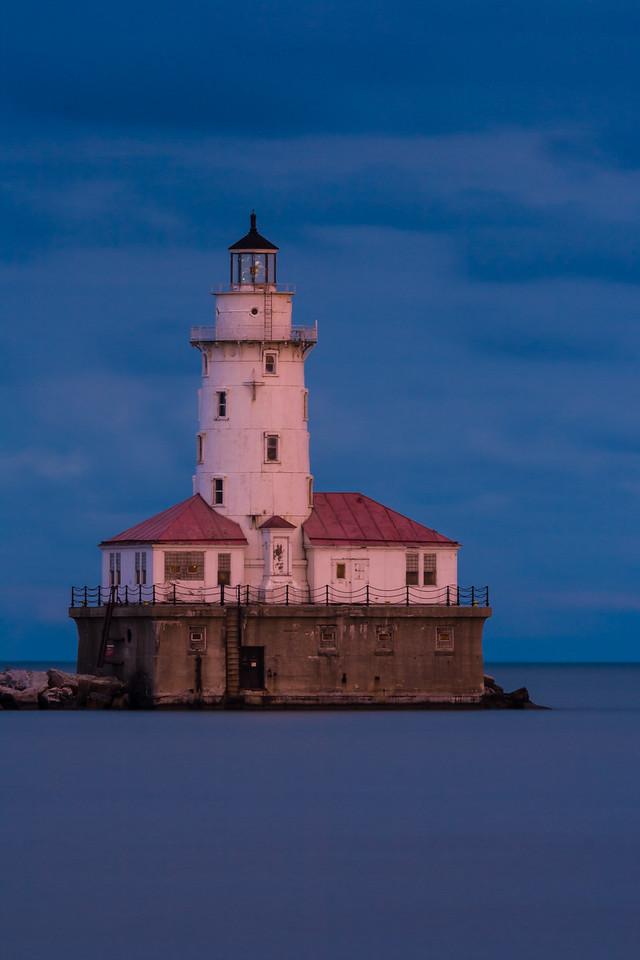 Chicago Harbor Light at Dusk