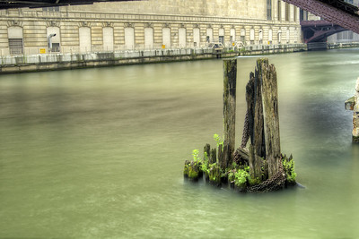 Water from the Chicago River flows around old dock pilings in Chicago, IL on Monday, August 10, 2015. Copyright 2015 Jason Barnette