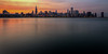 Sunset view of the Chicago skyline from the Adler Planetarium plaza on a balmy spring evening. Chicago, IL<br /> <br /> IL-120327-0030