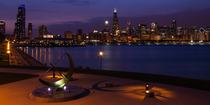 View of the Chicago skyline from the Adler Planetarium plaza on a balmy spring evening. Chicago, IL<br /> <br /> IL-120327-0052