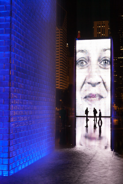 The Crown Fountain, one of the centerpieces of Millennium Park, is a popular place to play and gather during the warm months. Chicago, IL<br /> <br /> IL-091004-0107
