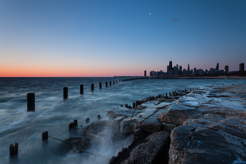 Crescent Moon over Chicago