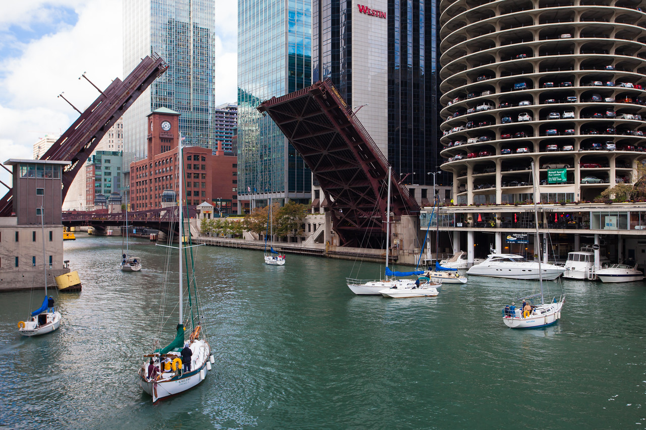The rise of the bridges in autumn indicates that the sailing season is coming to an end. Chicago, IL<br /> <br /> IL-090930-0096