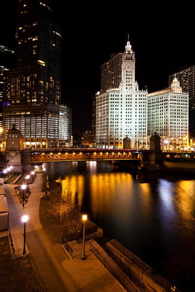 A mild winter night along the Chicago River. Chicago, IL<br /> <br /> IL-120128-0019