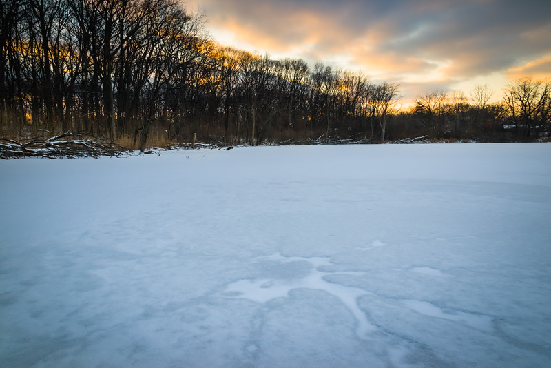 HL 024<br /> <br /> The end of a winter day on a small, secluded lake.  Herrick Lake Forest Preserve, DuPage county, Illinois.