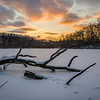 HL 026<br /> <br /> A set of fox tracks meanders across the snow-covered surface of a small lake at sunset.  Herrick Lake Forest Preserve, DuPage County, Illinois.