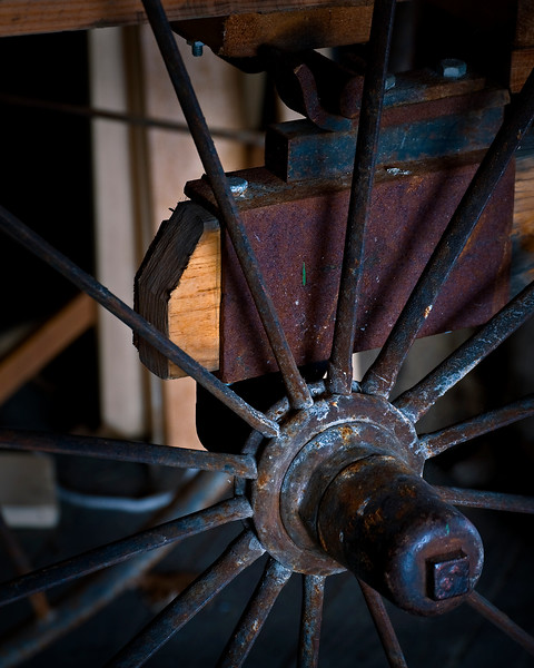 KC 008<br /> <br /> Wagon wheel detail.  Kline Creek Farm Forest Preserve, DuPage County, Illinois.