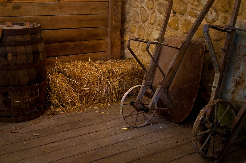 KC 012<br /> <br /> Wheelbarrows in lower level of the main barn at Kline Creek Farm Forest Preserve, DuPage County, Illinois.