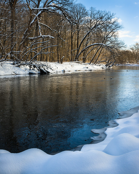 McDGrv 007<br /> <br /> The shoreline of the west branch of the DuPage River is blanketed with deep snow on a brisk winter afternoon.  McDowell Grove Forest Preserve, DuPage County, Illinois.