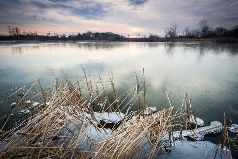 SBS 002<br /> <br /> A winter sunset over Songbird Lake at Songbird Slough Forest Preserve, DuPage County, Illinois.