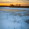 SBP 205<br /> <br /> Sunset color washes across the ice-covered surface of Crooked Slough at Springbrook Prairie Nature Preserve, DuPage County, Illinois.