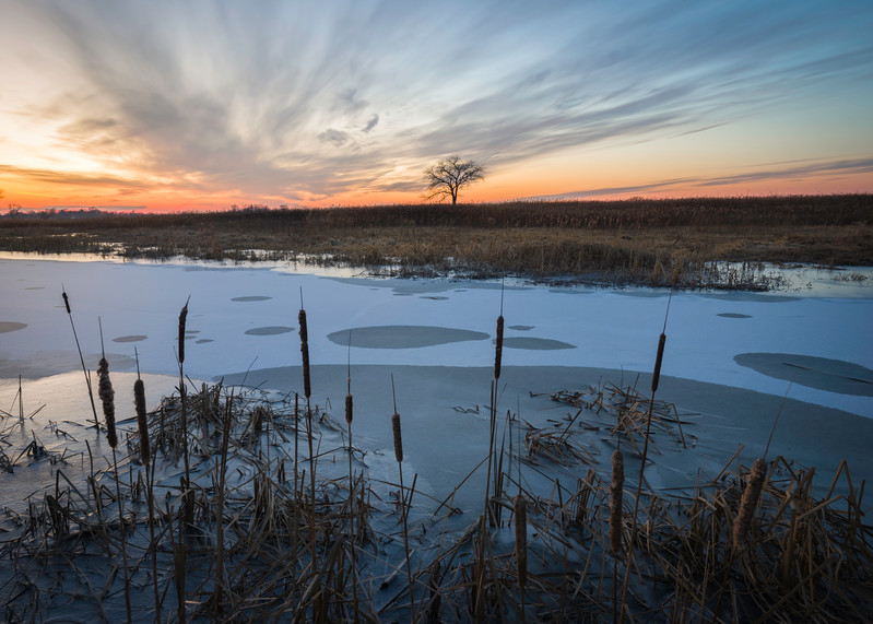 SBP 150<br /> <br /> A winter sunset over a frozen wetland marsh at Springbrook Prairie Nature Preserve, DuPage County, Illinois.