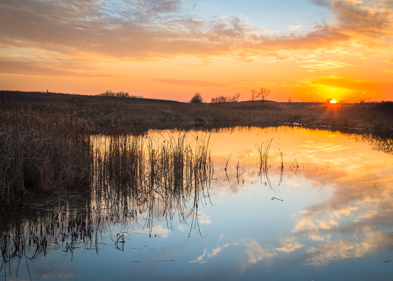 SBP 201<br /> <br /> Sunset over Crooked Slough.  Springbrook Prairie Nature Preserve, DuPage County, Illinois.