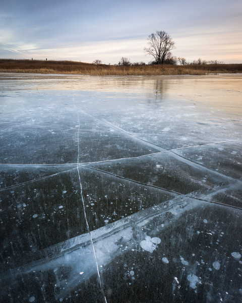 SBP 138<br /> <br /> Fractured ice at twilight.  Springbrook Prairie Nature Preserve, DuPage County, Illinois.