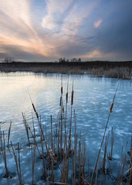 SBP 073<br /> <br /> A quiet calm settles over Crooked Slough at the end of a winter day.  Springbrook Prairie Nature Preserve, DuPage County, Illinois.