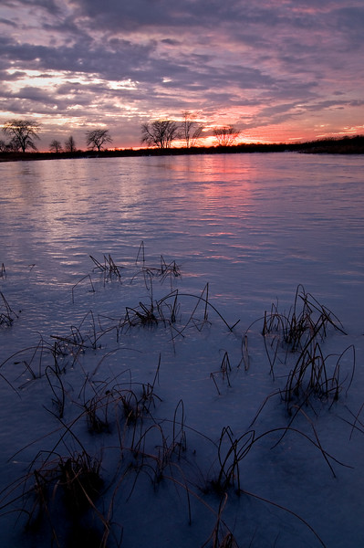 SBP 198<br /> <br /> Winter sunset on Crooked Slough.  Springbrook Prairie Nature Preserve, DuPage County, Illinois.