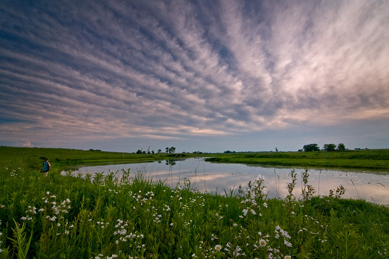 SBP 007<br /> <br /> Clouds roll over Crooked Slough at the end of a summer day.  Springbrook Prairie Nature Preserve, DuPage County, Illinois.