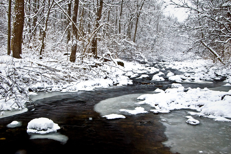 WFG 007<br /> <br /> Sawmill Creek flows through a winter landscape of ice and snow at Waterfall Glen Forest Preserve, DuPage County, Illinois.