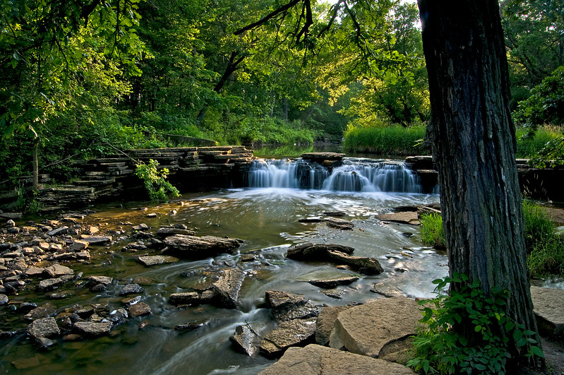 WFG 031<br /> <br /> Summer on Sawmill Creek where it flows over Rocky Glen waterfall.  Waterfall Glen Forest Preserve, DuPage County, Illinois.