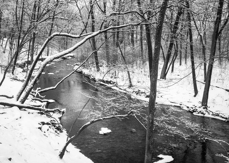 WFG 073<br /> <br /> Sawmill Creek flowing peacefully through a winter landscape after a fresh snowfall.
