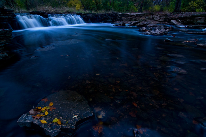 WFG 008<br /> <br /> Dusk at Rocky Glen Waterfall.  Waterfall Glen Forest Preserve, DuPage County, Illinois.