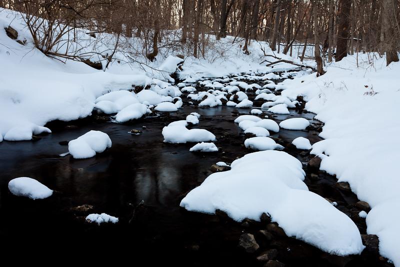 Snow covers the rocks on the creek at Black Partridge. Lemon, IL<br /> <br /> IL-110203-0047