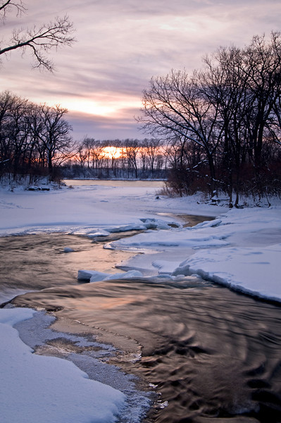 DPC 002                         A winter sunset on Prairie Creek, Des Plaines Conservation Area, Will County, Illinois.