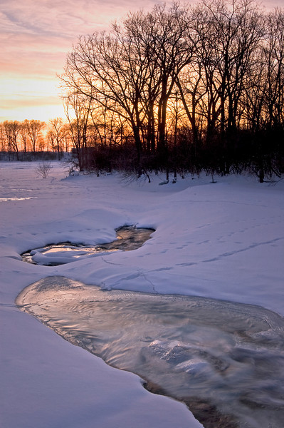 DPC 004                         A winter sunset on Prairie Creek, Des Plaines Conservation Area, Will County, Illinois.