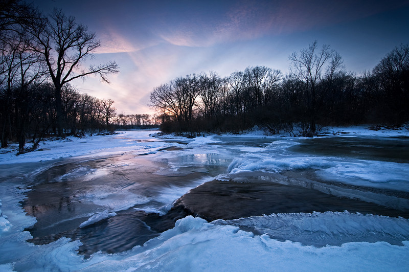 DPC 009                           Sunset on the Prairie Creek waterfall in winter, Des Plaines Conservation Area, Will County, IL.