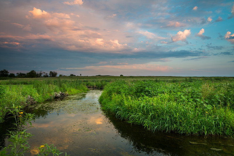 Summer sunset at Springbrook Prairie. Naperville, IL<br /> <br /> IL-120729-0031