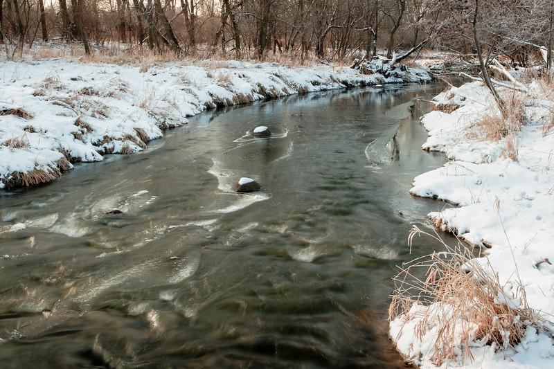 Springbrook Creek winter scene. Naperville, IL<br /> <br /> IL-071230-0048