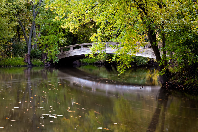 Early fall color surrounds one of the bridges over the DuPage River. Warrenville, IL<br /> <br /> IL-091011-0054