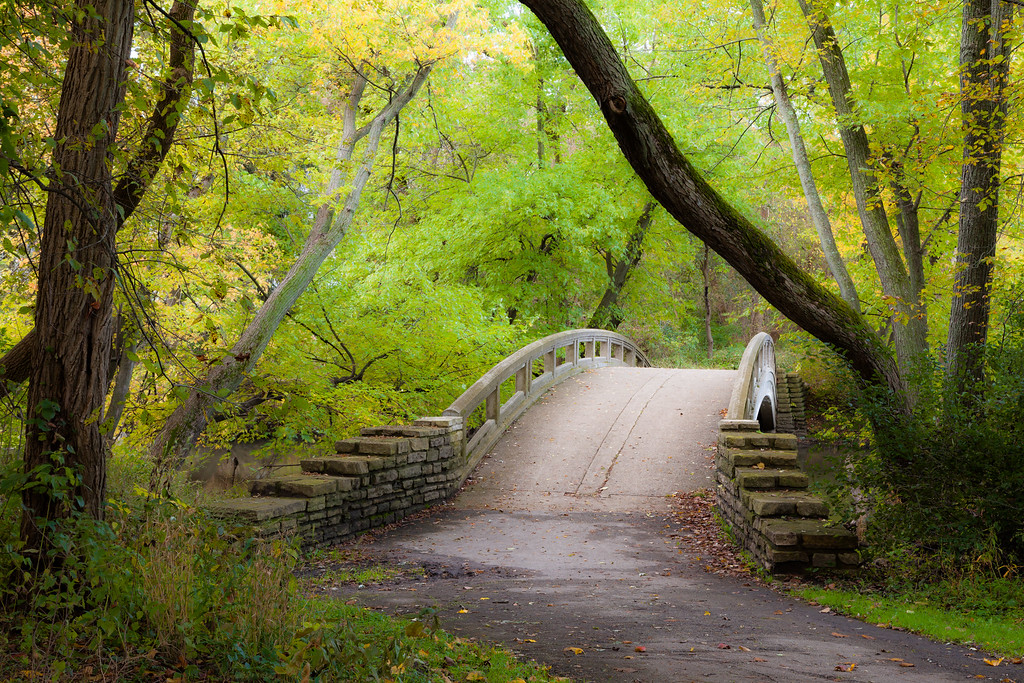 Early fall color surrounds one of the bridges over the DuPage River. Warrenville, IL<br /> <br /> IL-091017-0025
