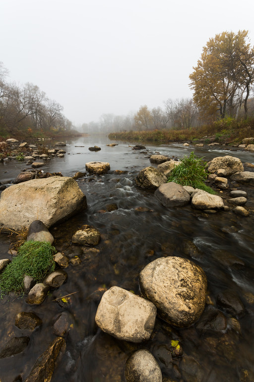 Fog descends over the DuPage River on a late Autumn morning. Warrenville, IL<br /> <br /> IL-151103-0023