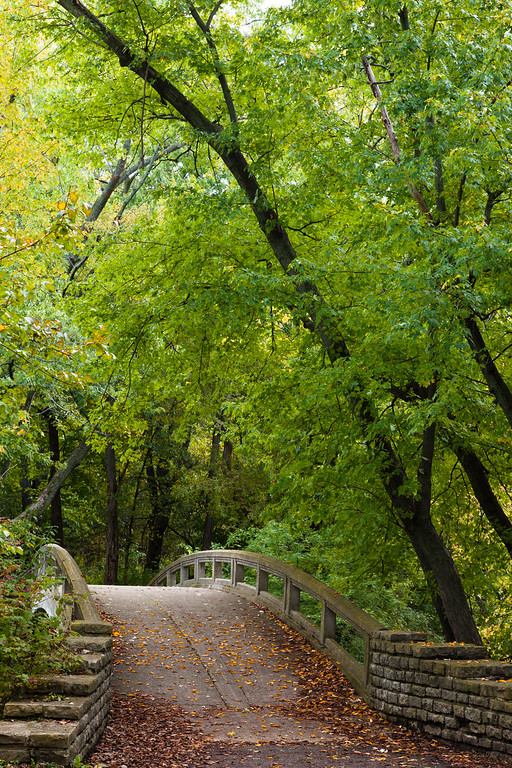 Early fall color surrounds one of the bridges over the DuPage River. Warrenville, IL<br /> <br /> IL-091011-0062