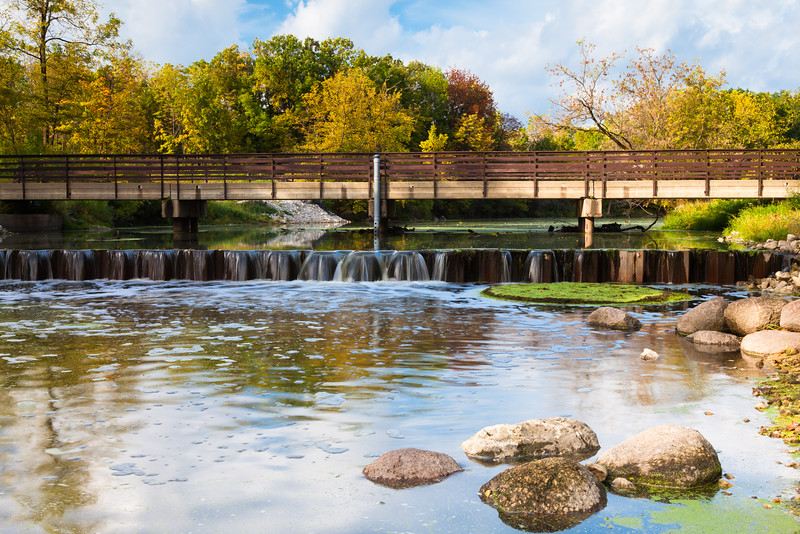 McDowell Grove dam and entry bridge. Naperville, IL<br /> <br /> IL-090926-0006