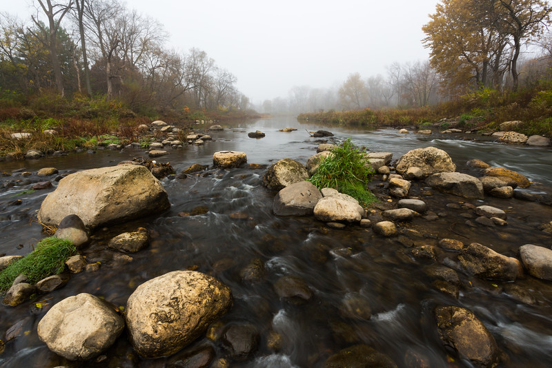 Fog descends over the DuPage River on a late Autumn morning. Warrenville, IL<br /> <br /> IL-151103-0020