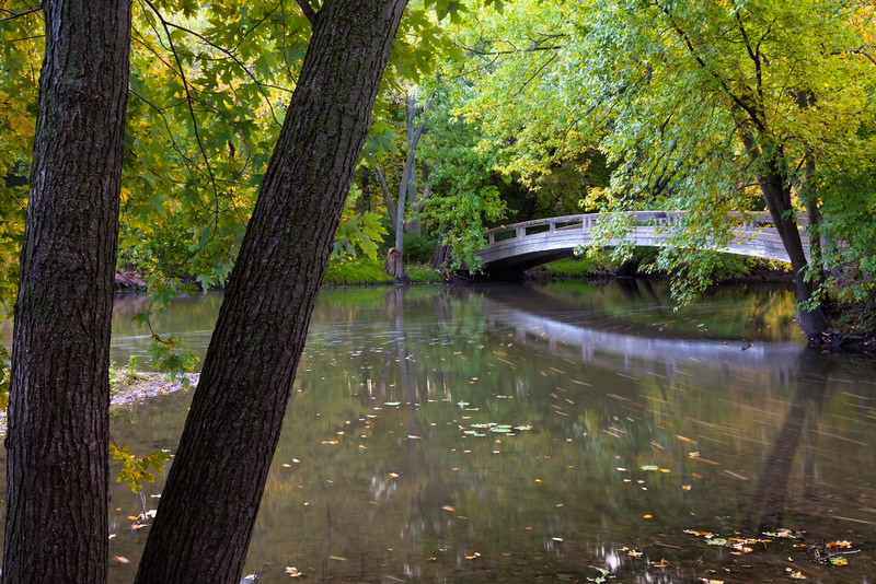 Early fall color surrounds one of the bridges over the DuPage River. Warrenville, IL<br /> <br /> IL-091011-0051