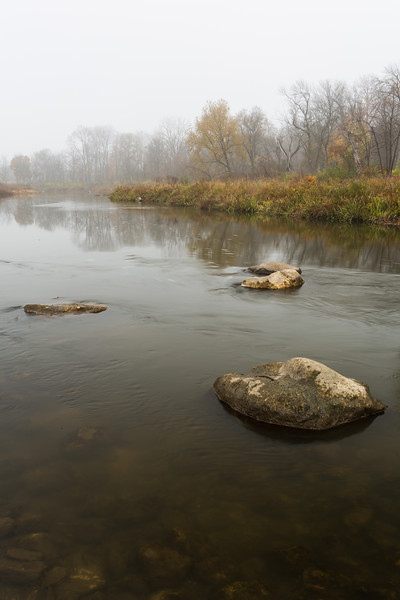 Upstream view of the DuPage River. Warrenville, IL<br /> <br /> IL-151103-0042