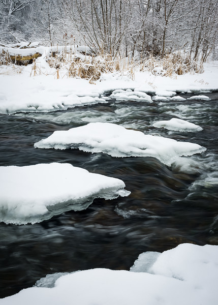 LO 003<br /> <br /> Icebergs form in the freezing waters of Ferson Creek as it flows through Leroy Oaks Forest Preserve in Kane County, Illinois.