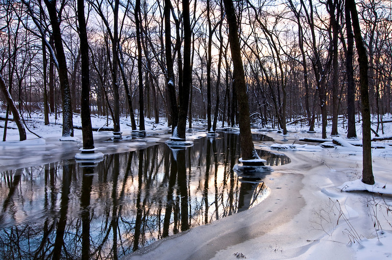 MW 005                    Winter sunset light reflecting on Spring Creek, Messener Woods Forest Preserve, Will County, Illinois.