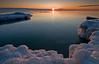 OLP 001                A winter sunrise on the Lake Michigan shore at Openlands Lakeshore Preserve, Fort Sheridan, Illinois.