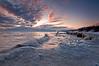 OLP 014                  A winter sunrise on the Lake Michigan shore at Openlands Lakeshore Preserve, Fort Sheridan, Illinois.